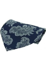 Soprano Navy With Large Paisley Pattern Silk Pocket Square
