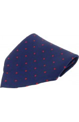 Soprano Navy With Red Polka Dots Mens Silk Pocket Square
