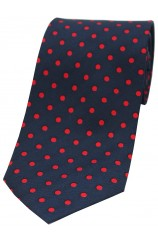 Soprano Navy with Red Polka Dots Printed Silk Tie