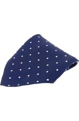 Soprano Navy With White Polka Dots Mens Silk Pocket Square