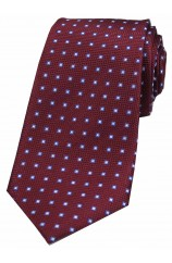 Soprano Neat Box Pattern on Wine Ground Silk Tie