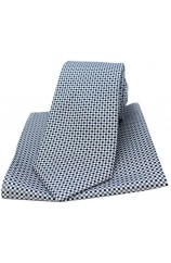 Soprano Neat Checked Silver and Grey Silk Tie and Pocket Square