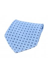 Soprano Neat Navy Box Pattern on Light Blue Ground Silk Pocket Square