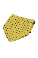 Soprano Neat Navy Box Pattern on Mustard Ground Silk Pocket Square