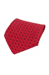 Soprano Neat Navy Box Pattern on Red Ground Silk Pocket Square