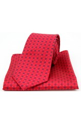 Soprano Neat Navy Box Pattern on Red Silk Tie and Pocket Square