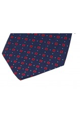 Soprano Neat Red Box Pattern on Navy Ground Silk Pocket Square