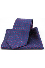 Soprano Neat Red Box Pattern on Navy Silk Tie and Pocket Square