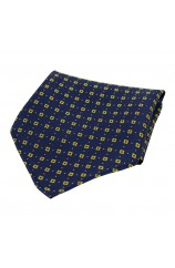 Soprano Neat Yellow Box Pattern on Navy Ground Silk Pocket Square