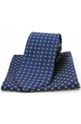 Soprano Neat Yellow Box Pattern on Navy Silk Tie and Pocket Square