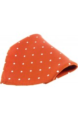 Soprano Orange and White Polka Dots Mens Silk Pocket Square