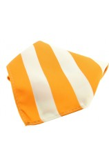 Soprano Orange And White Striped Polyester Pocket Square