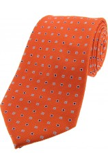 Soprano Orange Small Squares Silk Tie