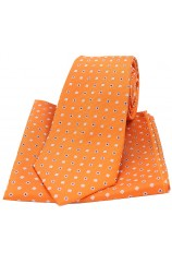 Soprano Orange Small Squares Silk Tie and Pocket Square