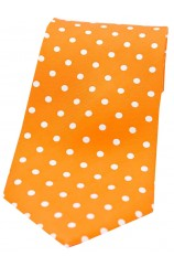 Soprano Orange with White Polka Dots Mens Printed Silk Tie
