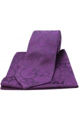Soprano Paisley Purple Silk Tie and Pocket Square