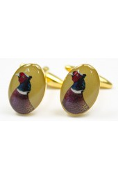 Soprano Pheasant Head Gold Country Cufflinks