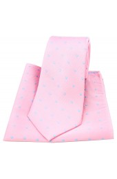 Soprano Pink and Sky Blue Polka Dot Silk Tie And Pocket Square