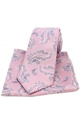 Soprano Pink Floral Pattern Woven Silk Tie and Pocket Square