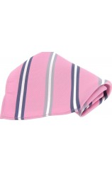 Soprano Pink With Multi Coloured Striped Silk Pocket Square