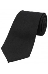 Soprano Plain Black Wool Rich Tie
