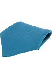 Soprano Plain Petrol Blue Fine Twill Mens Silk Pocket Square