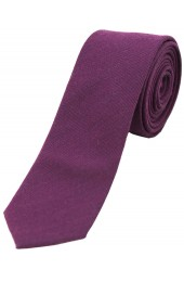 Soprano Plain Purple Wool Rich Thin Tie