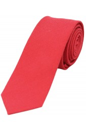 Soprano Plain Red Wool Rich Thin Tie