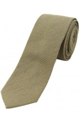 Soprano Plain Wood Green Wool Rich Thin Tie