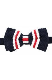 Soprano Pre-tied Navy White and Red Striped Knitted Polyester Bow Tie