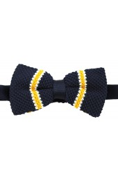 Soprano Pre-tied Navy Yellow White Striped Knitted Polyester Bow Tie