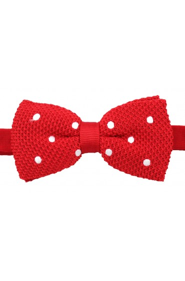 Soprano Pre-tied Red and White Polka Dot Knitted Polyester Bow Tie