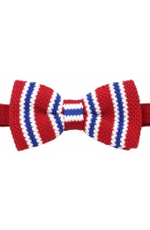 Soprano Pre-tied Red Blue and White Striped Knitted Polyester Bow Tie