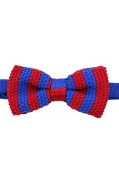 Soprano Pre-tied Royal Blue and Red Striped Knitted Polyester Bow Tie