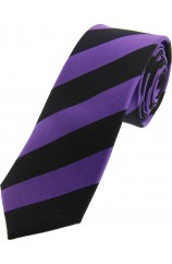 Soprano Purple and Black Striped Thin Silk Tie