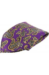 Soprano Purple Ground With Large Paisley Design Silk Pocket Square