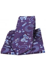 Soprano Purple Mens Flower Pattern Silk Tie and Pocket Square