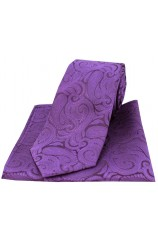 Purple Paisley Silk Tie and Pocket Square