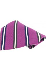 Soprano Purple With Multi Coloured Striped Pocket Square