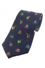 Soprano Childrens Racing Colours and Saddles On Navy Ground Silk Tie