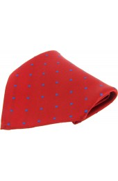 Soprano Red and Blue Polka Dots Mens Silk Pocket Square