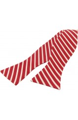 Soprano Red and Cream Striped Silk Self Tied Bow