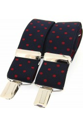 Soprano Red and Navy Polka Dot 35mm X Style Braces