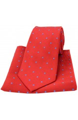 Soprano Red and Royal Polka Dot Silk Tie and Pocket Square