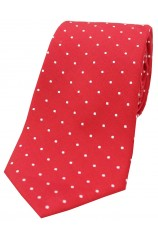Soprano Red and White Pin Dot Silk Tie