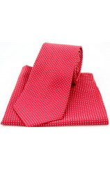 Soprano Red and White Pin Dot Silk Tie and Pocket Square
