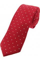 Soprano Red and White Pin Dot Thin Silk Tie