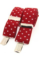 Soprano Red and White Polka Dot 35mm X Style Braces