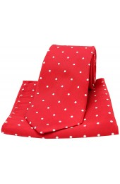 Soprano Red and White Polka Dot Silk Tie and Pocket Square