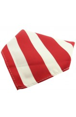 Soprano Red And White Striped Polyester Pocket Square
